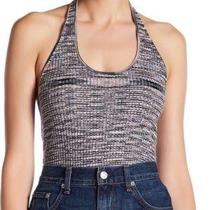 Abound Gray-Blue Marled Knit Halter Crop Top